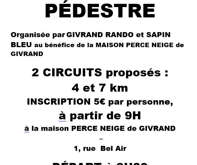 RANDONNEE PEDESTRE AU PROFIT DE LA MAISON PERCE-NEIGE DE GIVRAND